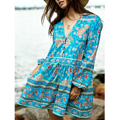 Casual Long Sleeve Tiny Floral Low Cut Women's Boho Dress