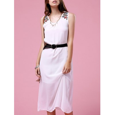 Fashion Round Neck Embroidery Dress For Women