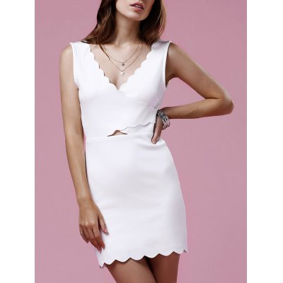 Scalloped White Mini Dress