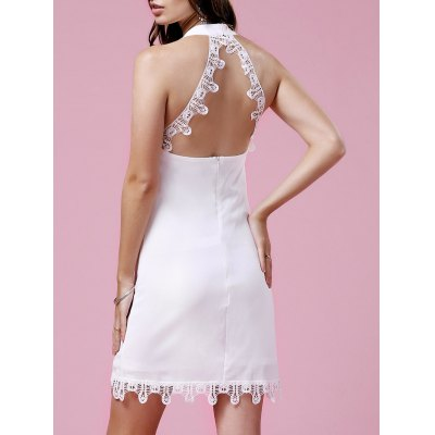Trendy Lace Trim Halter Women's White Dress
