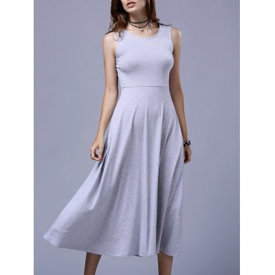 Sleeveless Flared Midi Dress