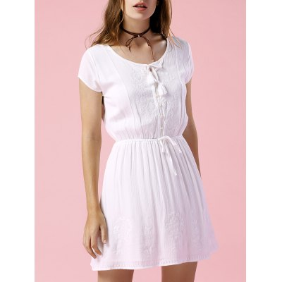 Casual Round Neck Short Sleeve Solid Color Drawstring Dress For Women