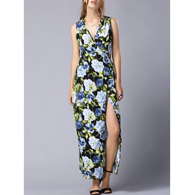Fashion V-Neck High Slit Floral Wrap Maxi Dress For Women