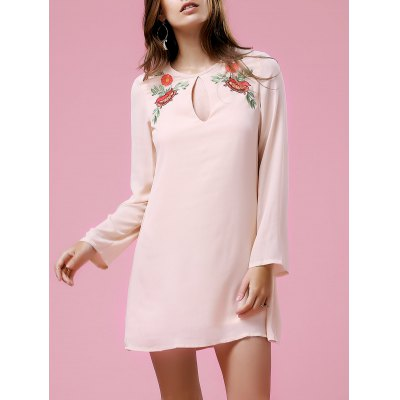 Stylish Round Neck Long Sleeve Loose Printed Women's Dress