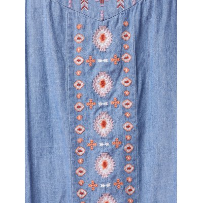 Ethnic Style Sleeveless Retro Embroidery Chambray Dress For Women