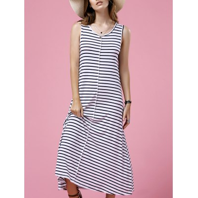 Casual Round Neck Sleeveless Striped Maxi Dress