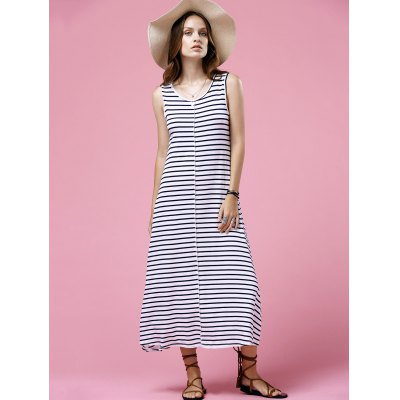 Casual Round Neck Sleeveless Striped Maxi Dress For Women