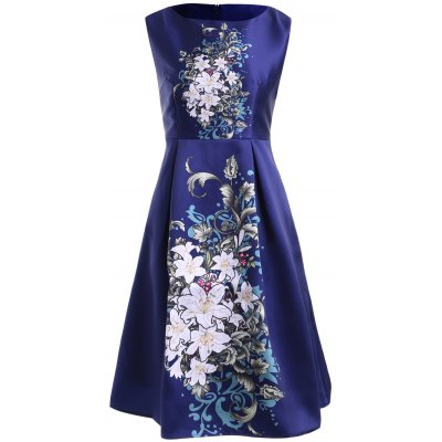 Women's Chic Round Neck Sleeveless Floral Print Dress