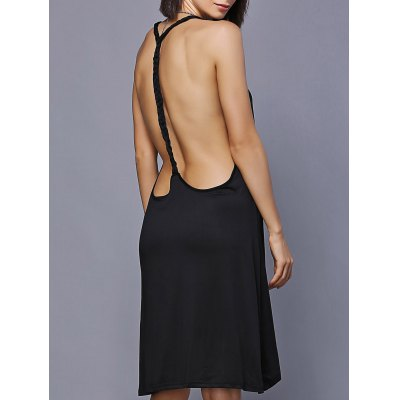 Backless High Low Mini Swing Dress