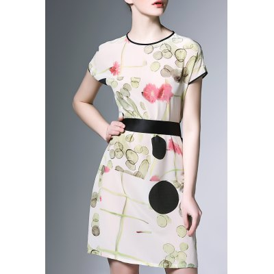 Round Neck Flower Print Dress