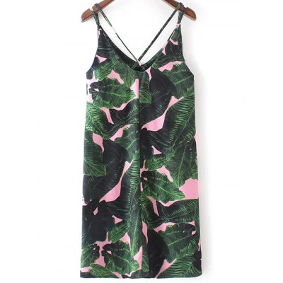 Stylish V-Neck Tropical Print Dress For Women