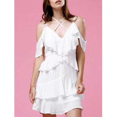 Fashionable Strappy Frilled Women's White Dress