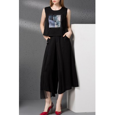 Printed Tank Top and Gauze Insert Wide Leg Pants Twinset