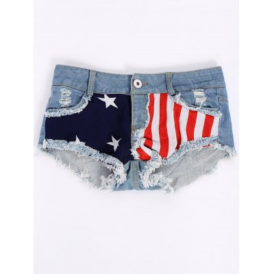 Low-Waisted Flag Print Shorts