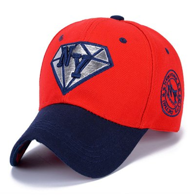Letter Embroidery and Diamond Shape Embellished Sun-Proof Baseball Cap