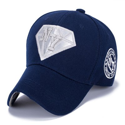 Letter Embroidery and Diamond Shape Embellished Casual Baseball Cap
