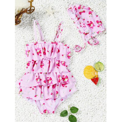 Spaghetti Strap Strawberry Print Girl's One-Piece Swimsuit