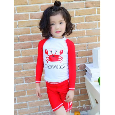 Cute Long Sleeve Crab Print T-Shirt + Shorts Kid's Two-Piece Swimsuit