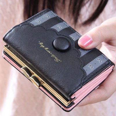 Ladylike Striped and Bow Pattern Design Wallet For Women