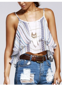 Sweet Wave Printing Condole Belt Small Top For Woman