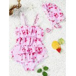 Buy Cute Spaghetti Strap Strawberry Print Girl's One-Piece Swimsuit 110 PINK