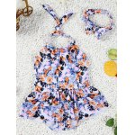 Cute Halter Full Print Bowknot Design Girl's One-Piece Swimsuit