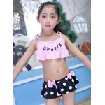 Cute Spaghetti Strap Flounced Polka Dot Girl's Two Piece Swimsuit for sale