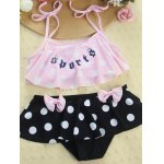 Buy Cute Spaghetti Strap Flounced Polka Dot Girl's Two Piece Swimsuit 130 PINK