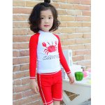 Cute Long Sleeve Crab Print T-Shirt + Shorts Kid's Two-Piece Swimsuit deal