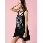 best Fashion Scoop Neck Embroidery Flouncing Dress For Women