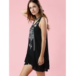 Fashion Scoop Neck Embroidery Flouncing Dress For Women photo