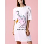 Casual Style Round Neck Short Sleeve Dinosaur Print Women's Dress