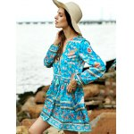cheap Casual Long Sleeve Tiny Floral Low Cut Women's Boho Dress