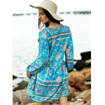 Casual Long Sleeve Tiny Floral Low Cut Women's Boho Dress deal