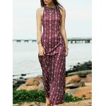 Bohemian Open Back Women's Maxi Prom Dress in Plum