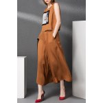 Print Tank Top and Gauze Spliced Wide Leg Pants Twinset deal