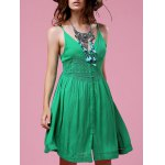 Stylish Cami Green Lace Splice A Line Women's Dress