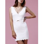 Slimming Scalloped White Mini Dress For Women