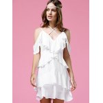 Fashionable Strappy Frilled Women's White Dress for sale