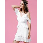 best Fashionable Strappy Frilled Women's White Dress