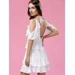 Fashionable Strappy Frilled Women's White Dress photo