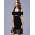 Stylish Short Sleeve Hollow Out Black Women's Dress for sale