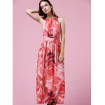 cheap Elegant Floral Print Halter Neck Women's Maxi Dress