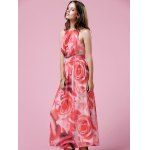 Elegant Floral Print Halter Neck Women's Maxi Dress deal