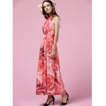 Elegant Floral Print Halter Neck Women's Maxi Dress for sale