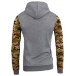 cheap Vogue Hooded Camo Spliced Front Pocket Long Sleeves Hoodie For Men