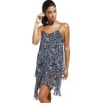 cheap Fashioable Flower Printing Rippled Edge Spaghetti Strap Dress For Woman