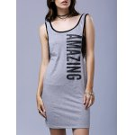 Stylish Scoop Neck Sleeveless Fitted Letter Print Women's Dress