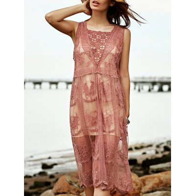 Stylish Square Neck Sleeveless Lace Women's Dress