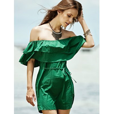 Stylish Off The Shoulder Green Ruffles Women's Dress